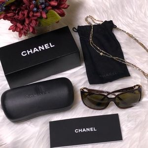 Chanel brown and gold sunglasses